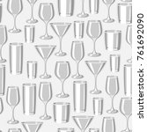 types of bar glasses. seamless... | Shutterstock .eps vector #761692090