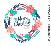 christmas wreath.  merry... | Shutterstock .eps vector #761692276