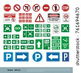set street sign  evacuate sign  ... | Shutterstock .eps vector #761694670