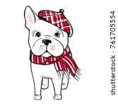 cute vector dog in winter...   Shutterstock .eps vector #761705554