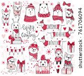 Stock vector a huge christmas collection with cute dogs bears gifts snowflakes happy new year fashion 761706094