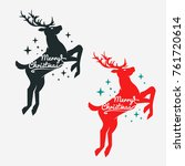 silhouettes the deer with stars  | Shutterstock .eps vector #761720614