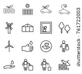thin line icon set   bio  sun... | Shutterstock .eps vector #761722003