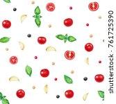 cherry tomatoes  herbs  garlic  ... | Shutterstock . vector #761725390