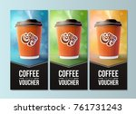 coffee to go vouchers concept.... | Shutterstock .eps vector #761731243