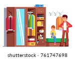 father getting dressed putting... | Shutterstock .eps vector #761747698