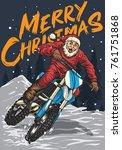 santa riding motocross in the...