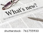 a newspaper with the headline...   Shutterstock . vector #761755933