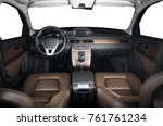 luxury car inside. interior of... | Shutterstock . vector #761761234