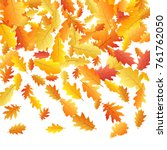 windy flying oak leaf abstract... | Shutterstock .eps vector #761762050