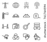 thin line icon set   lighthouse ... | Shutterstock .eps vector #761764594