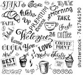 coffee and cocoa  lettering set ... | Shutterstock . vector #761766190