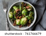 brussels sprouts and bacon dish | Shutterstock . vector #761766679