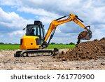 the modern excavator  performs... | Shutterstock . vector #761770900
