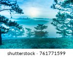 sunrise at the pine hill with...   Shutterstock . vector #761771599