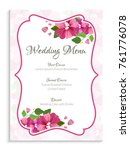 wedding menu card design ... | Shutterstock .eps vector #761776078