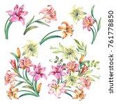 Set Of Watercolor Flowers...