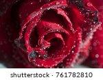 red rose on white satin... | Shutterstock . vector #761782810