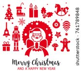 merry christmas and a happy new ... | Shutterstock .eps vector #761789848
