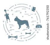 silhouette of french bulldog ... | Shutterstock .eps vector #761792350