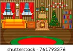 christmas living room with a... | Shutterstock .eps vector #761793376