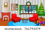 christmas living room with a... | Shutterstock .eps vector #761793379