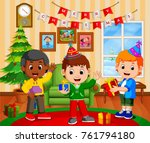 cute kids in the living room... | Shutterstock .eps vector #761794180