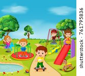 kids playing outdoor in park | Shutterstock .eps vector #761795836