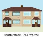 typical 1950s uk semi detached... | Shutterstock .eps vector #761796793