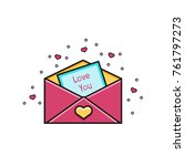 open envelope with love you...   Shutterstock .eps vector #761797273