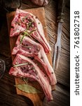 raw lamb chop ready for frying. ... | Shutterstock . vector #761802718