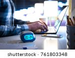 man working late. workaholic or ... | Shutterstock . vector #761803348