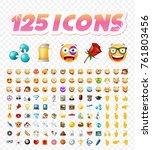 set of realistic cute icons on... | Shutterstock .eps vector #761803456