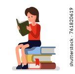 girl love to read books. vector ... | Shutterstock .eps vector #761820619