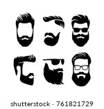 set bearded men faces hipsters... | Shutterstock .eps vector #761821729