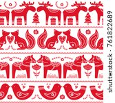 scandinavian seamless folk art  ... | Shutterstock .eps vector #761822689