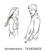 couple looking at each other... | Shutterstock .eps vector #761826829