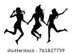 girls jumping silhouette | Shutterstock .eps vector #761827759