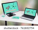 digital marketing concept shown ... | Shutterstock . vector #761832754