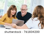 real estate agent giving... | Shutterstock . vector #761834200
