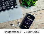 podcast app in a mobile phone... | Shutterstock . vector #761840059