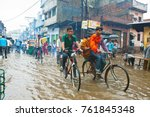 Small photo of VARANASI, INDIA - AUGUST 11: Flooded street on August 11, 2011 in Varanasi, Uttar Pradesh, India. India's monsoon rains were 14 percent above normal in the week to Aug. 10, 2011.