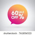 60  offer label sticker  sale... | Shutterstock .eps vector #761856523