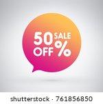 50  offer label sticker  sale... | Shutterstock .eps vector #761856850