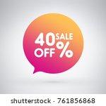40  offer label sticker  sale... | Shutterstock .eps vector #761856868