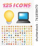 set of realistic cute icons on... | Shutterstock .eps vector #761858470