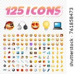 set of realistic cute icons on... | Shutterstock .eps vector #761858473