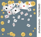 playing cards and money falling ... | Shutterstock .eps vector #761863660