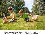 cheerful children compete in... | Shutterstock . vector #761868670