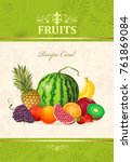 vintage card with fresh fruits... | Shutterstock .eps vector #761869084